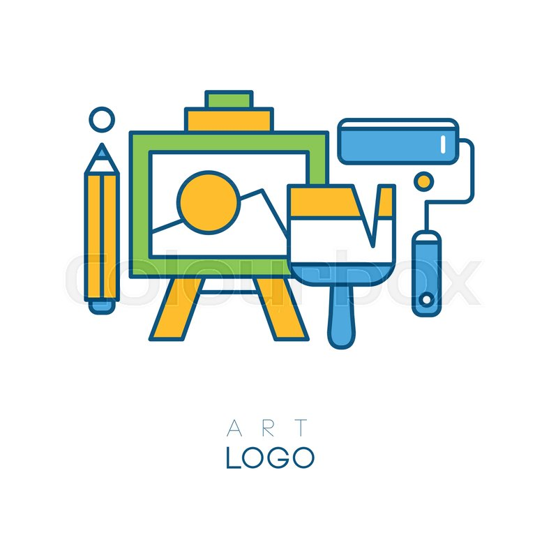 Abstract logo in line style with easel.