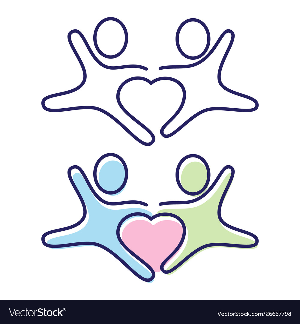 Two people holding hands icon symbol with love in.