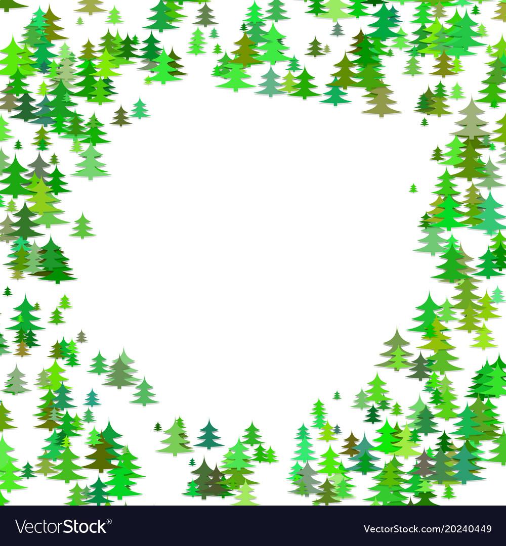 Abstract random pine tree pattern round border.