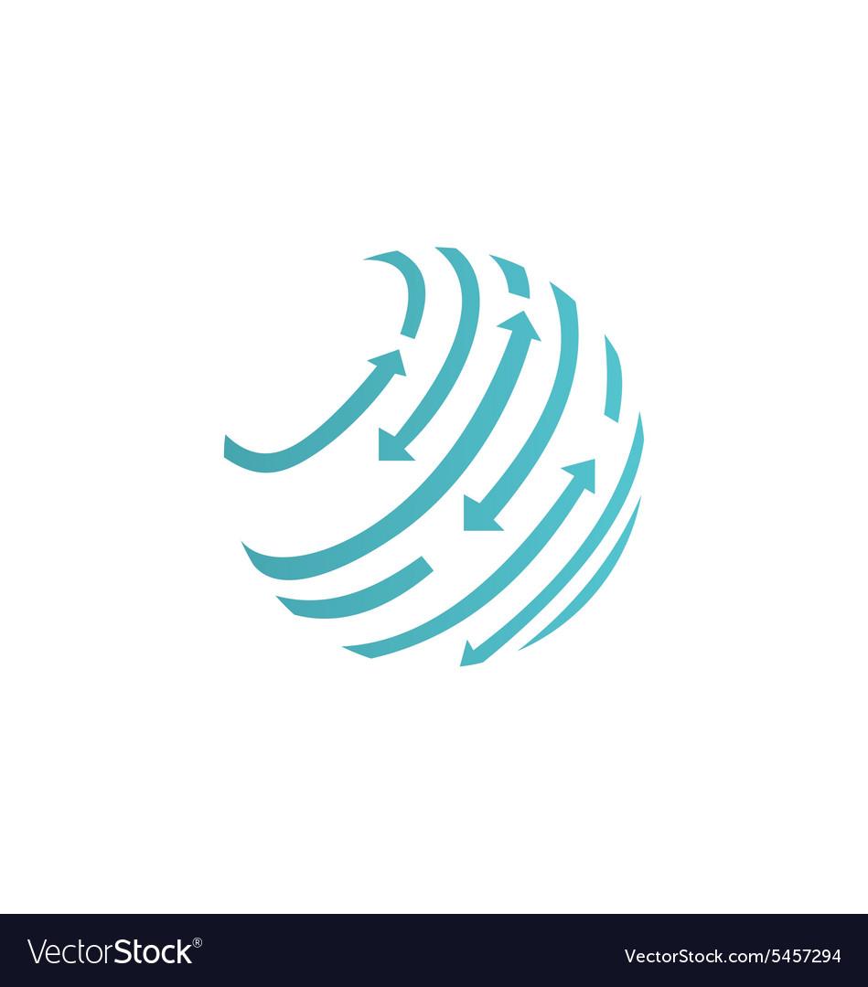 Round globe arrow abstract techno logo.