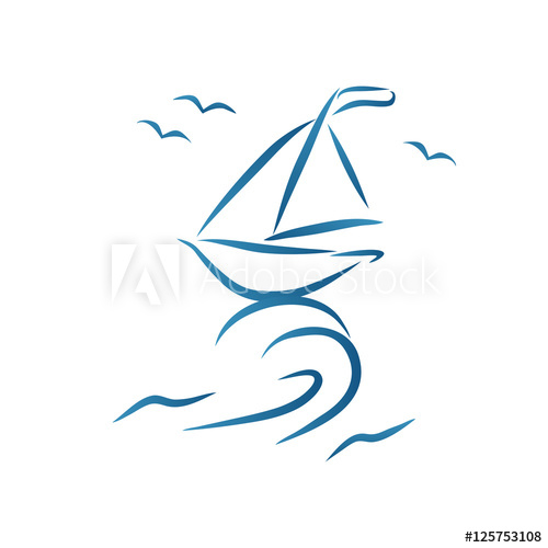 Nautic brush style drawing. Hand drawn scetch of stylized.