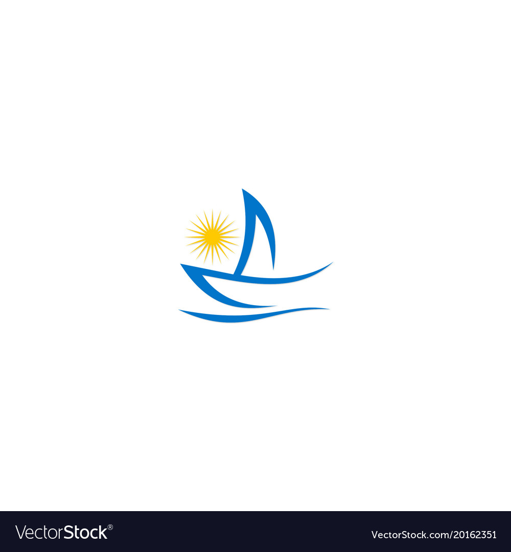 Yacht boat abstract ocean logo.