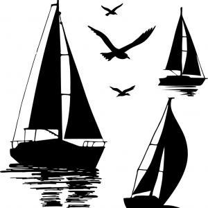 Sailing Boat Yacht Abstract Logo Vector.