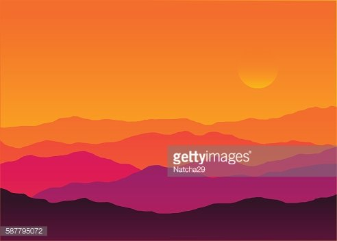 Abstract background sunset silhouette mountain scenery.