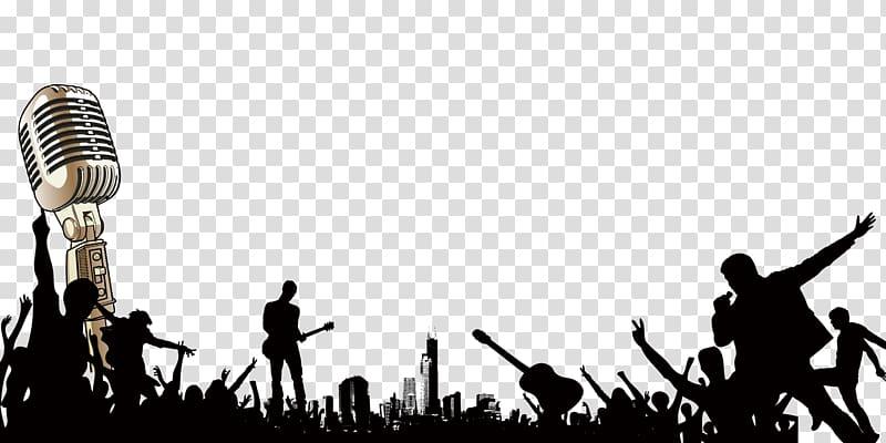 Silver condenser micrphone illustration, Singing Poster.