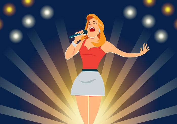 Singer Performs On Stage Vector.