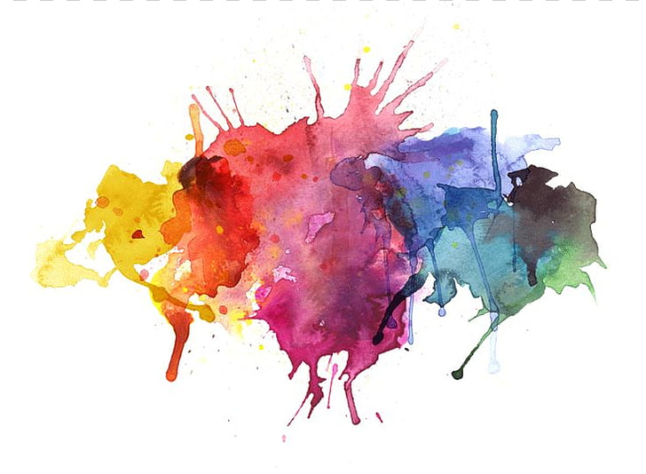 Watercolor painting Illustration, Paint Splatter.