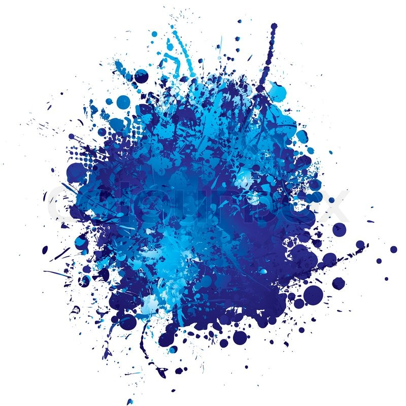 Shades of blue abstract ink splat with.