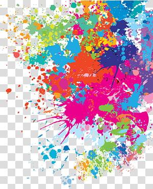 Watercolor painting, Paint splash, multicolored paint.