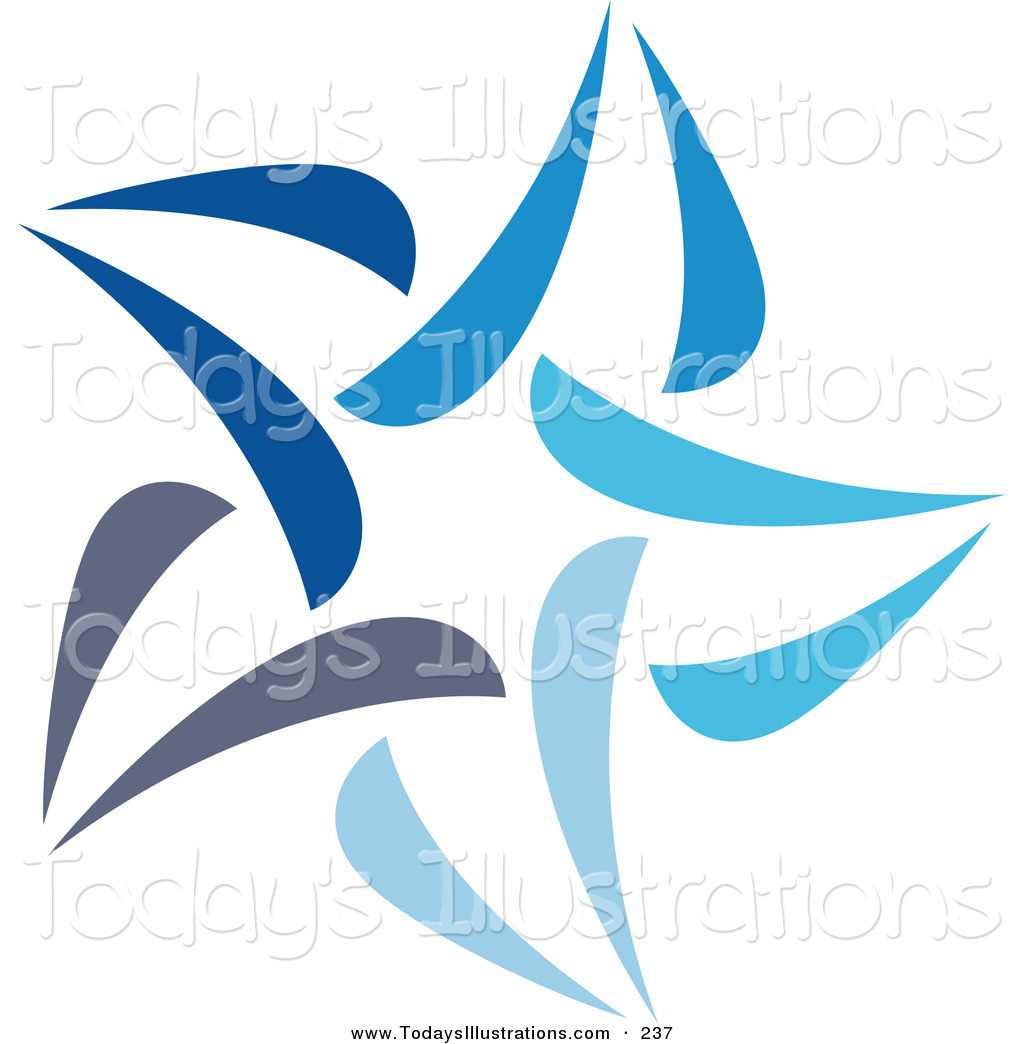 Clipart of an Abstract Blue Star Logo Icon over White by elena.