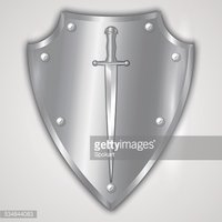 Vector Abstract Illustration of Stainless Steel Shield stock.