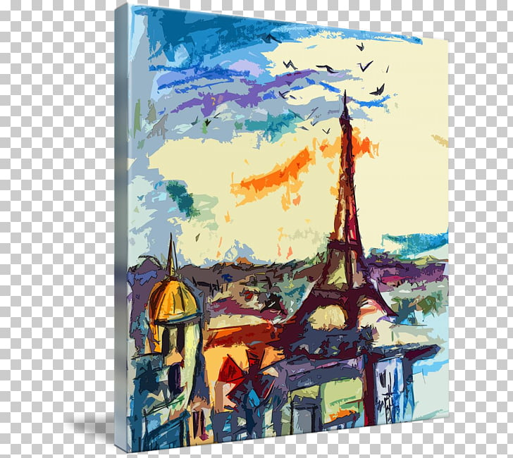 Watercolor painting Abstract art Paris, science fiction.
