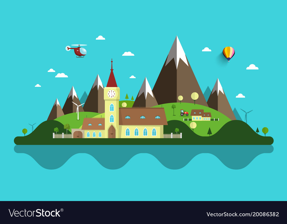 Flat design landscape abstract rural scene with.