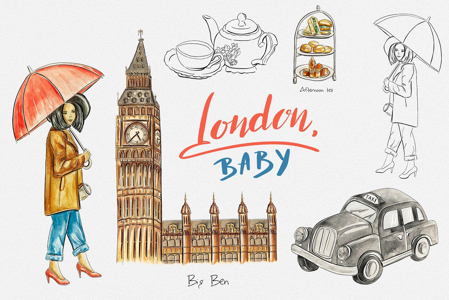 London travel clipart #scrapbooking#blog#web#digital.