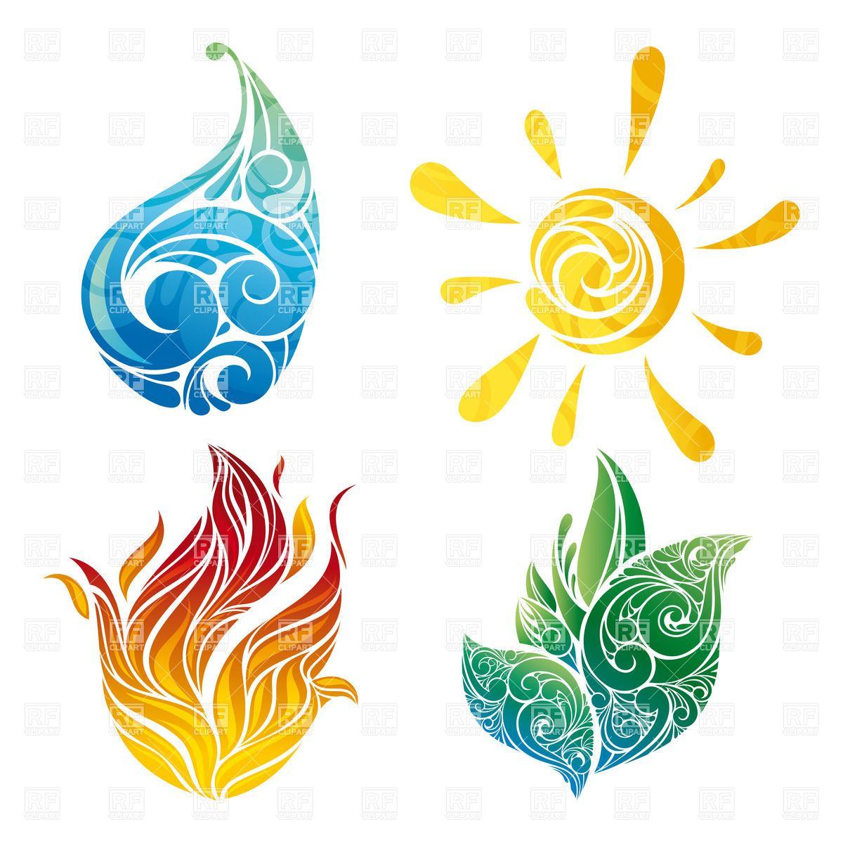 Abstract sun, leaf, water and fire symbols Stock Vector.