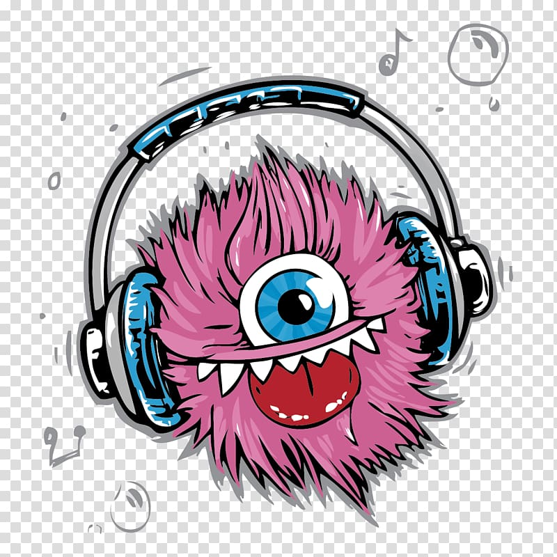 Pink monster wearing headphones illustration, T.