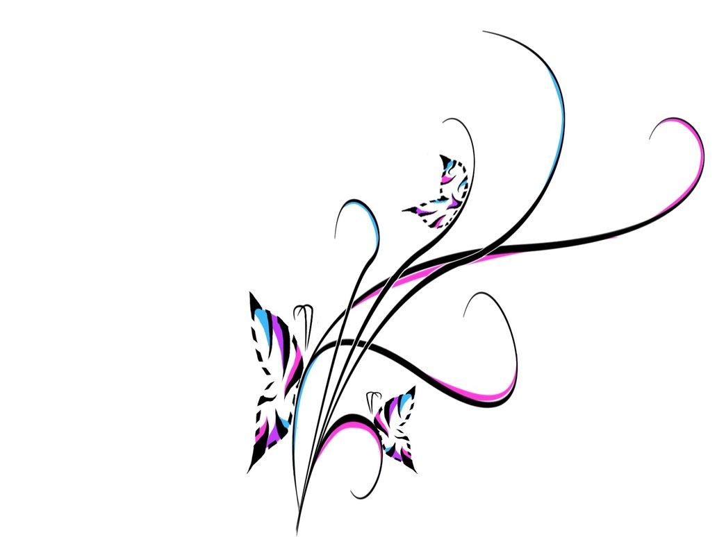 Abstract Swirl Butterflies Tattoo Design.