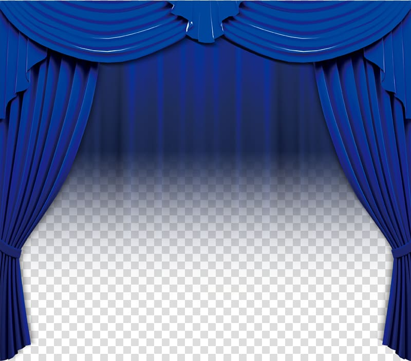 Blue curtain illustration, Theater drapes and stage curtains.