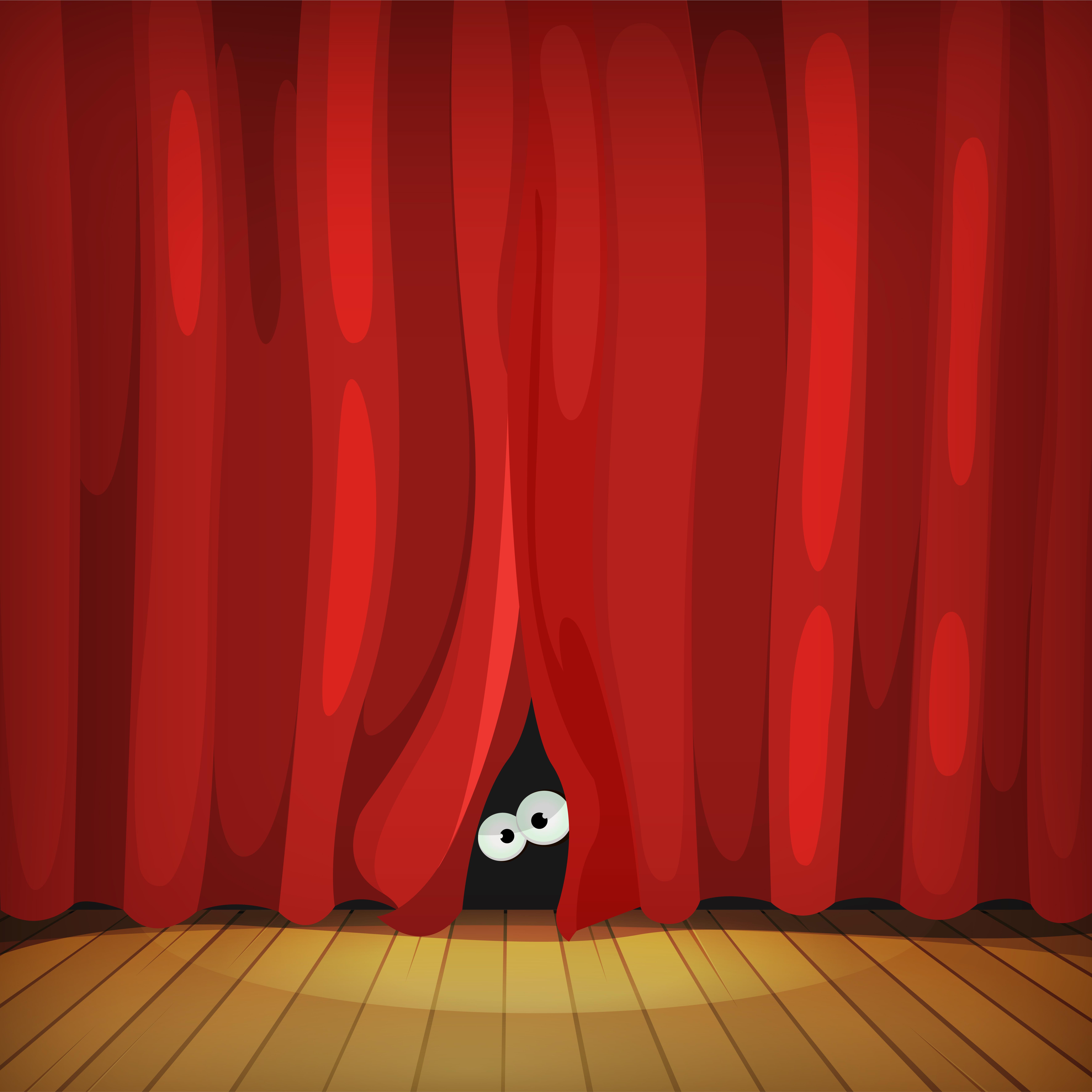 Eyes Behind Red Curtains On Wood Stage.