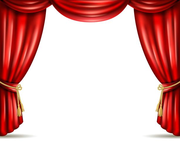Theater curtain open flat banner illustration.
