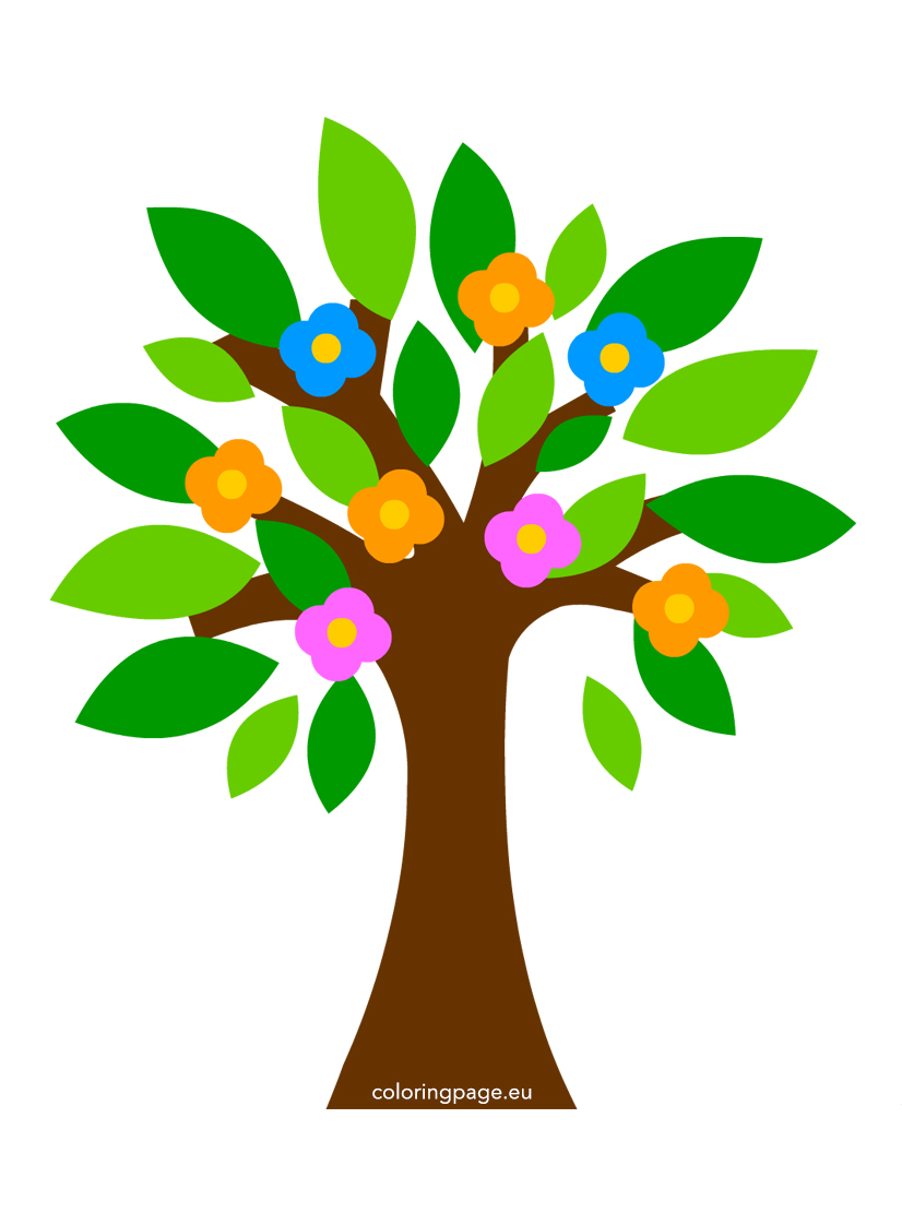 Abstract tree flowers vector illustration.