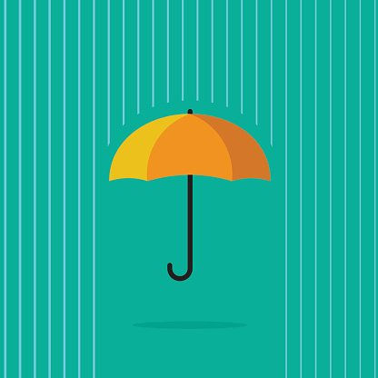 Umbrella in abstract line rain vector illustration on blue.