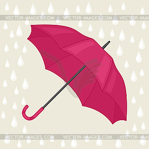 Abstract background with colored umbrella and rain.
