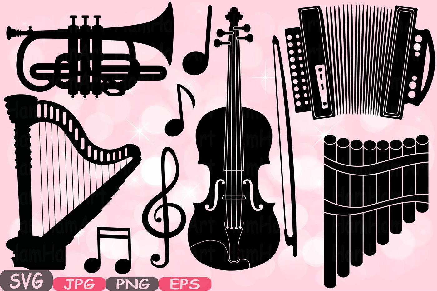 Music Instruments Silhouette SVG Music note SVG Printable.