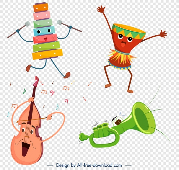 Stylized instrument icons violin drum lithophone trumpet.