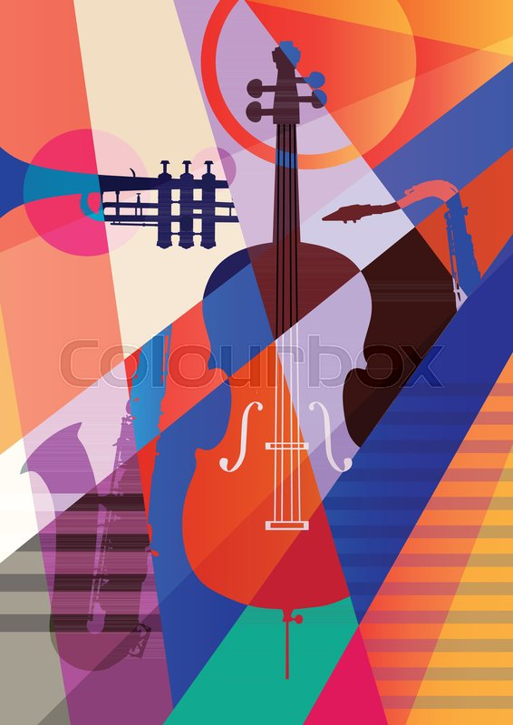 Abstract Jazz Art, Music instruments,.