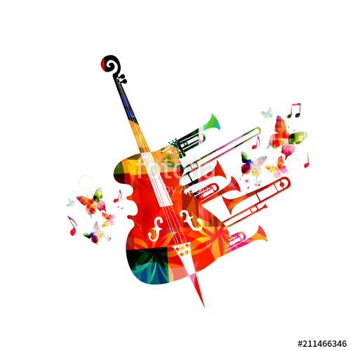 Colorful music background poster with violoncello, trumpet.