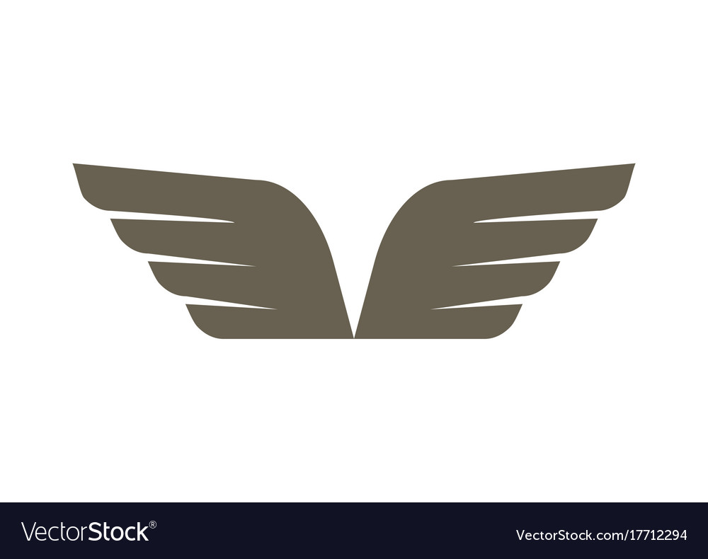 Abstract double wings isolated emblem.