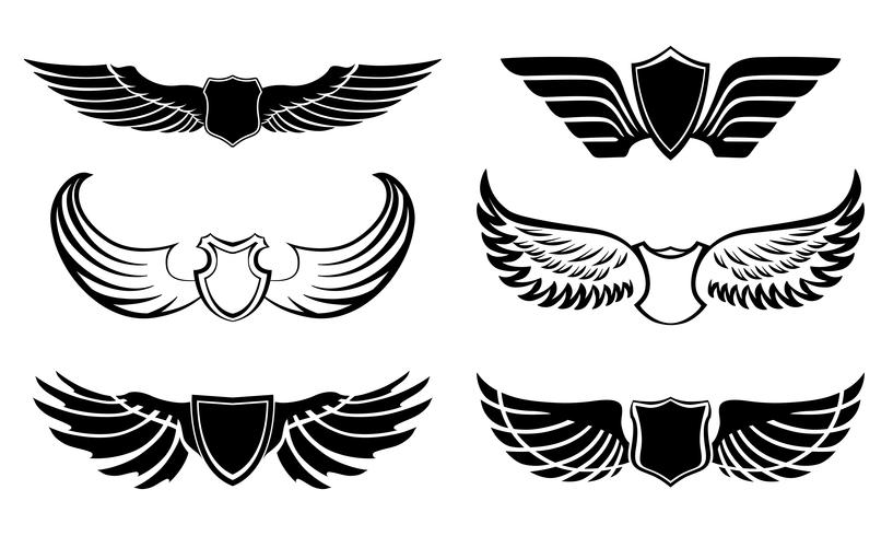 Abstract feather wings pictograms set.