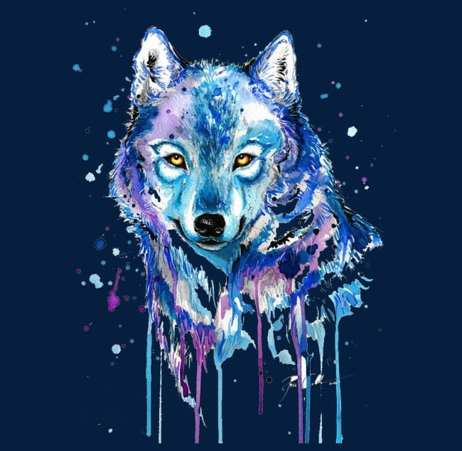 Abstract wolf PNG clipart.