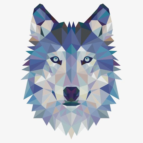 Geometric Wolf Avatar, Wolf Clipart, Creative Head, Animal.
