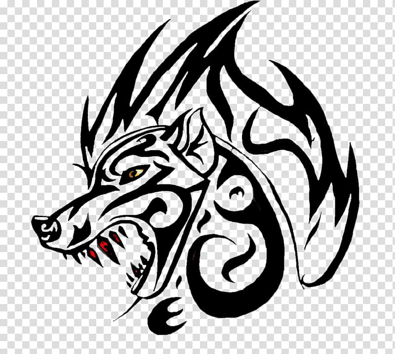 Gray wolf Tattoo Canidae, Wolf black stripes abstract.