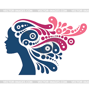 Beautiful woman silhouette. Tattoo of abstract.