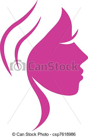 Simple abstract pink beauty woman face isolated on white.