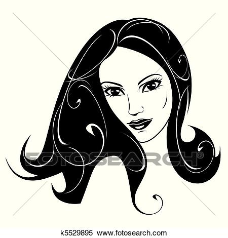 Abstract woman black and white Clipart.