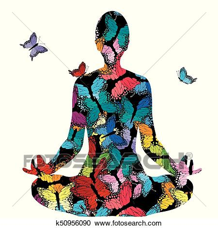 Abstract woman silhouette in yoga pose with butterflies.