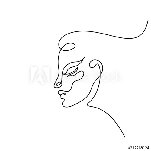 Continuous one line drawing. Abstract portrait of romantic.