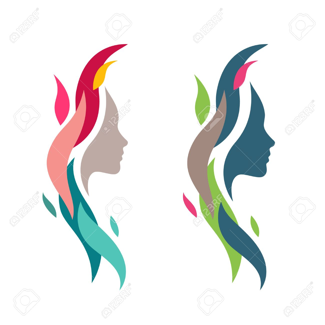 Colorful Woman Face with Waves. Abstract Female Head Silhouette...