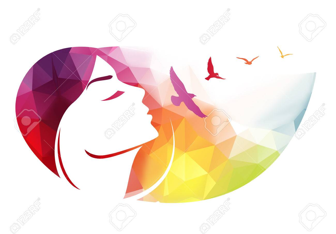Abstract modern background with woman face..