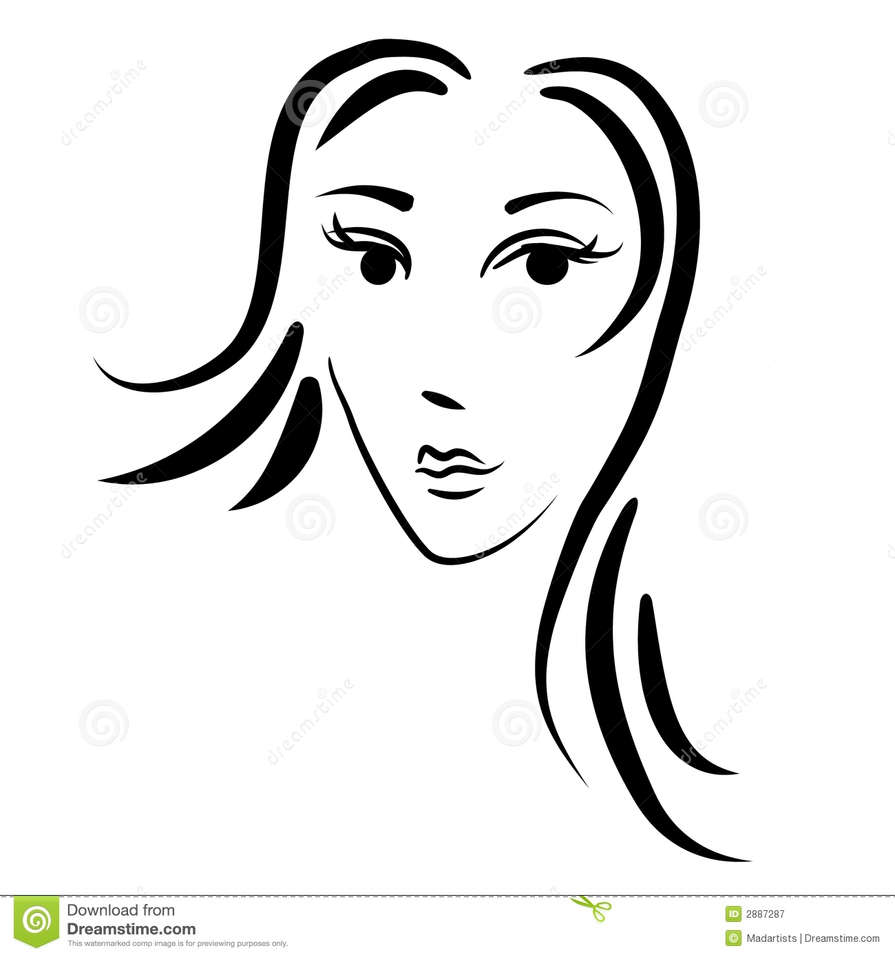 Abstract Woman Face Outline Stock Illustration.
