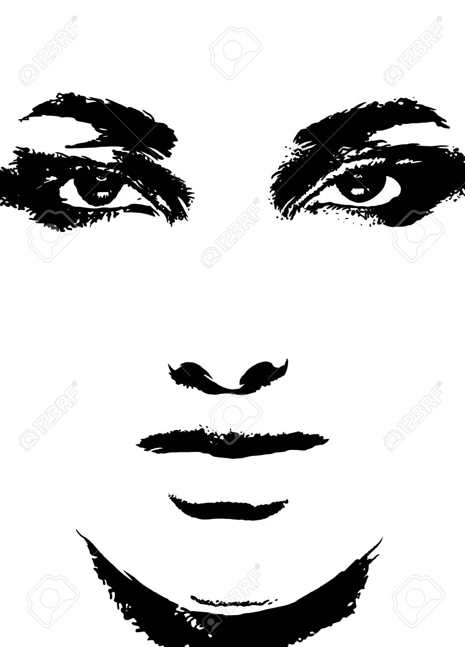 Abstract woman face. Fashion illustration,brush style.