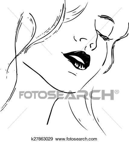 Beauty girl face. Abstract woman face. Vector. Clip Art.