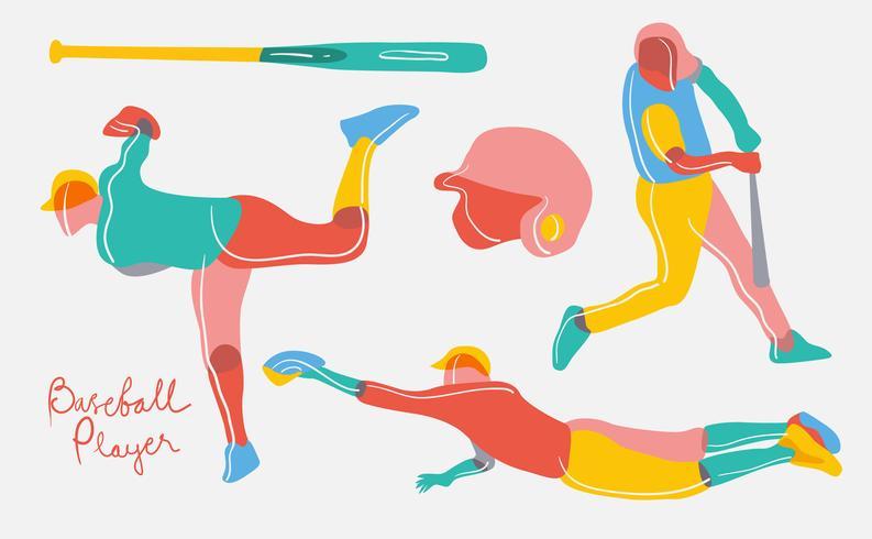 Abstract Colorful Baseball Player Vector Flat Illustration.