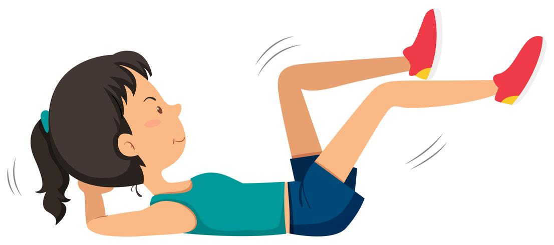 Girl doing ab bicycle exercise.