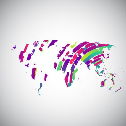 Abstract world map with colorful circles for advertising.