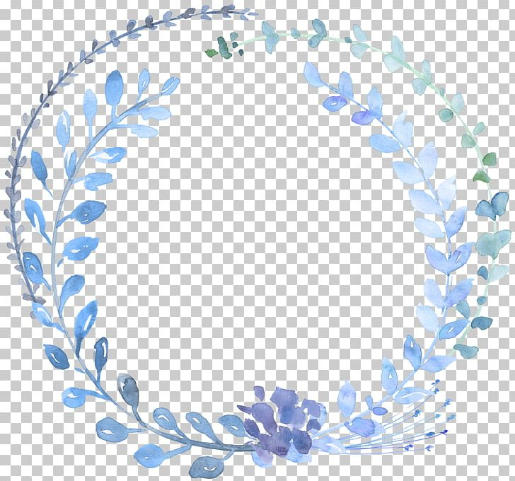 Watercolour Flowers Watercolor Painting Wreath Blue PNG.